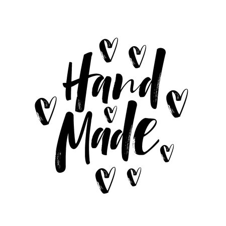 craft product: Hand made - hand lettering calligraphic inscription for sticker or label