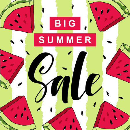 summer sale hand written lettering vector illustration with watercolor paint textured watermelon on trendy striped background