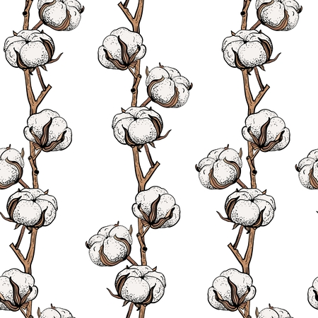 A Seamless pattern with cotton branches.