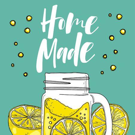 Hand drawn lemon, lemon slice, jar with lemonade. 矢量图像