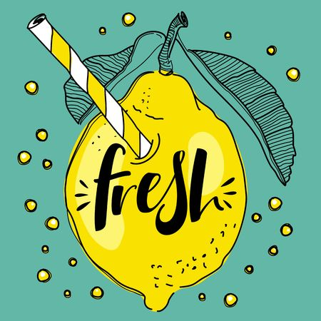 Cute Lemon as a drink with a straw. Fresh lemonade concept illustration vector.