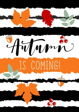 autumn flyer template with lettering. Bright fall leaves. Poster, card, label, banner design set.