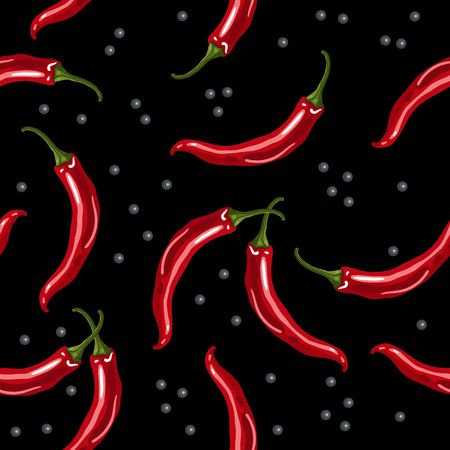 Seamless pattern with red chili peppers on a black background