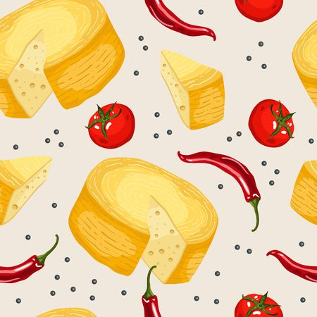 Seamless pattern with cheese. Colorful illustration, food vector. Decorative wallpaper, good for printing. Stock Photo