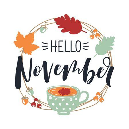 こんにちは、11 月。紅葉のラウンド フレーム。秋の葉の花輪。  イラスト・ベクター素材