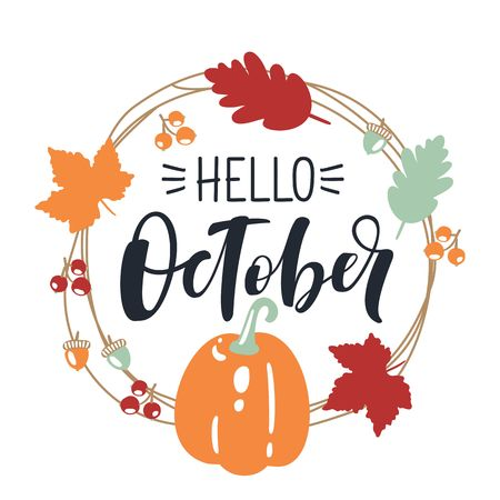 hello October, bright fall leaves and lettering composition