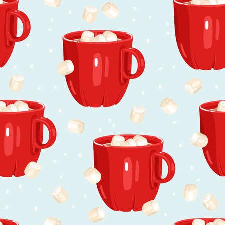Hot chocolate seamless pattern.