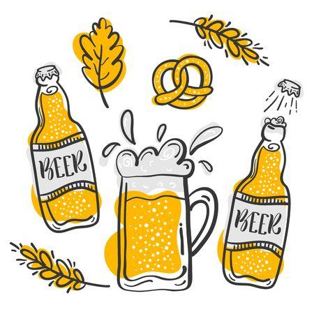 pretzel: Set of hand drawn beer vector illustration. Beer in glasses and Bottle Illustration