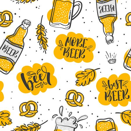 pretzel: Cartoon cute hand drawn Beer seamless pattern.