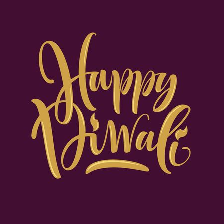 diwali celebration: Happy Diwali hand-lettering. Indian Holiday.