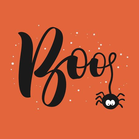 Hanging word Boo text with spider. Happy Halloween greeting card.