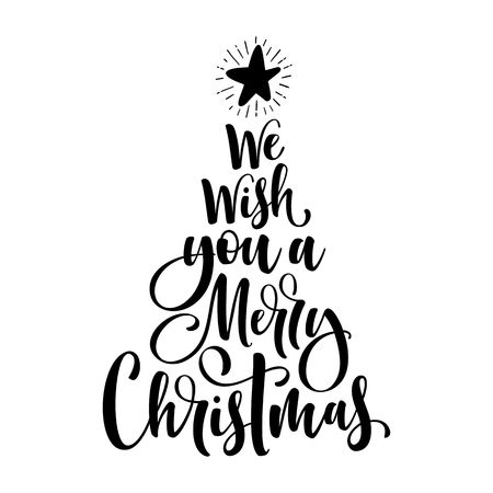 stock photo we wish you a merry christmas calligraphy text for greeting cards