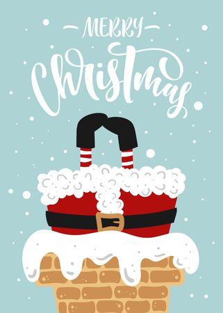 Santa Stuck. Merry Christmas Hand drawn lettering.  イラスト・ベクター素材