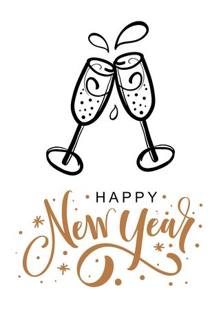 Happy new year greeting card. Hand drawn champagne glasses.