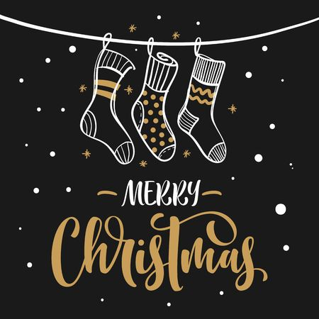 christmas backgrounds: Merry Christmas hand lettering text. Greeting card with hanging knitted socks and falling snow. Illustration