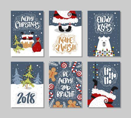 Kerstcadeaukaarten of -tags met belettering. Hand getrokken ontwerpelementen.