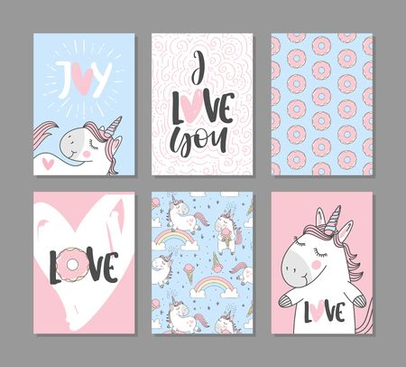 Romantic greeting cards with cute unicorns. Hand written text. Stock Illustratie