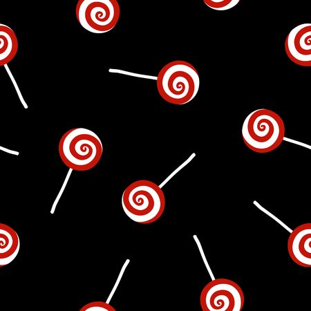 Seamless pattern of Christmas candies over black background Illustration