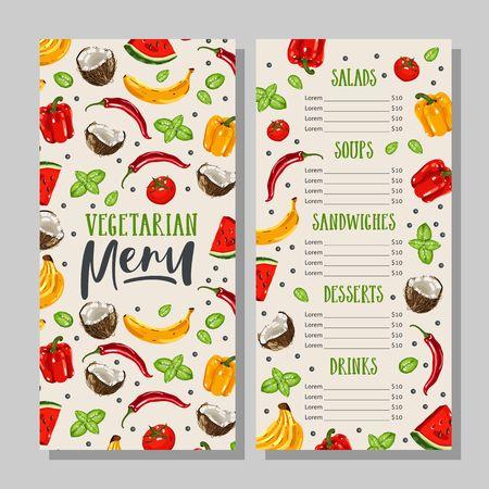 필기 필로 채식 음식 메뉴 템플릿입니다. 건강한 농장 음식. 손으로 그린 야채와 과일입니다.
