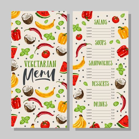 Vegetarian food menu template with handwritten calligraphy. Healthy farm food. Hand drawn vegetables and fruits.