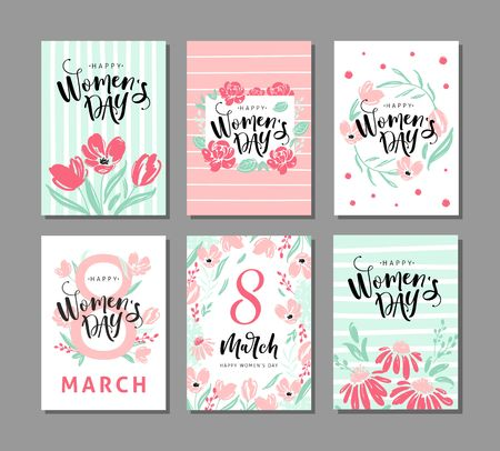 Set of six greeting cards for international womens day with ?alligraphic hand written phrase. Eight march. Hand drawn elements. Vector design.