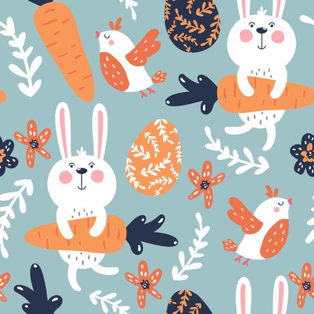 Seamless vector easter pattern with eggs, rabbits, carrots, birds and flowers Illustration
