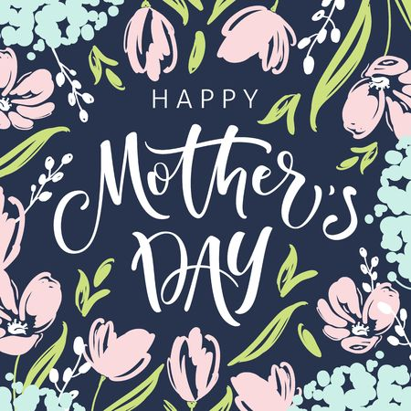 Mothers day greeting card with blossom flowers and modern brush calligraphy Vectores