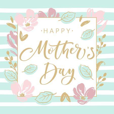 Carte de voeux de fête des mères avec des fleurs de fleurs et une calligraphie au pinceau moderne