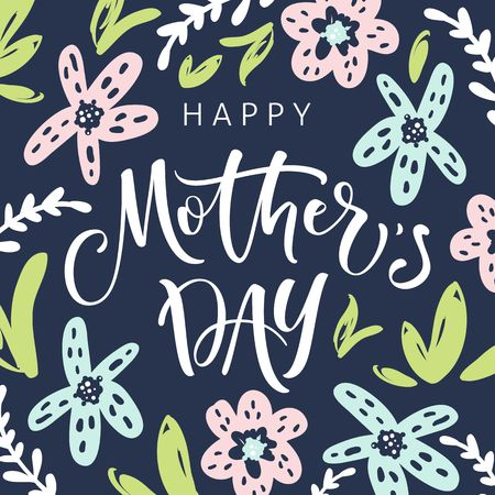 Mothers day greeting card with blossom flowers and modern brush calligraphy Ilustração