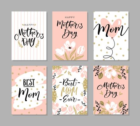 Set of cute greeting cards for Mothers Day with hand drawn blossom flowers and modern brush calligraphy