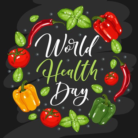 World health day concept with brush calligraphy and healthy food illustration.