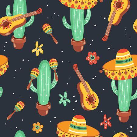 Hand drawn mexican seamless pattern. Cinco De Mayo design.  イラスト・ベクター素材