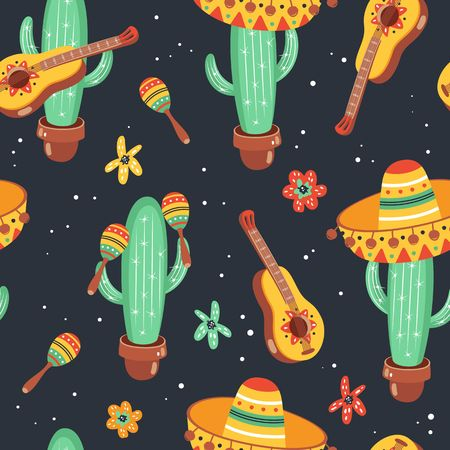 Hand drawn mexican seamless pattern. Cinco De Mayo design. Vectores