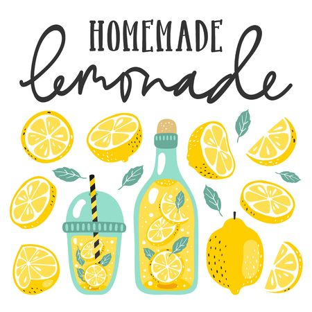 Summer set with lemonade and its ingredients. Lemon, lemon slice, mint and hand written text.