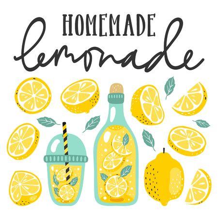 Set de verano con limonada y sus ingredientes. Limón, rodaja de limón, menta y texto escrito a mano.