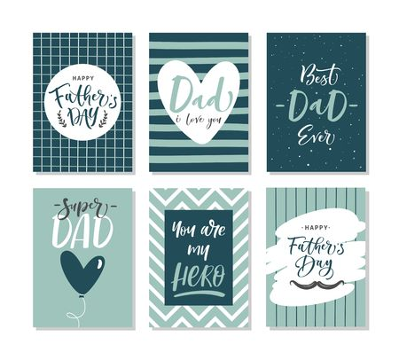 Happy fathers day greeting cards set. Vector hand written text.