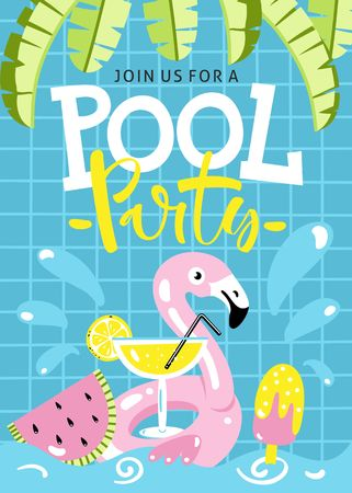 Pool party invitation. Flamingo pool float, cocktail, banana leaves, watermelon, icecream and other hand drawn beach elements.
