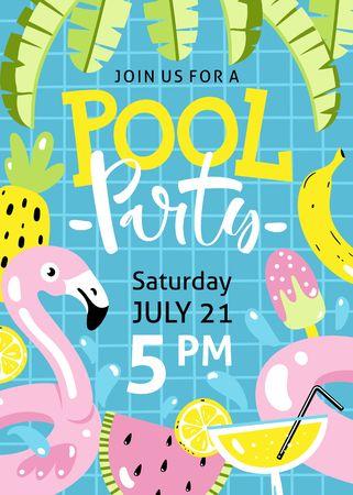 泳池派对的邀请。火烈鸟池浮、鸡尾酒、芭蕉叶、西瓜、菠萝等手绘沙滩元素。