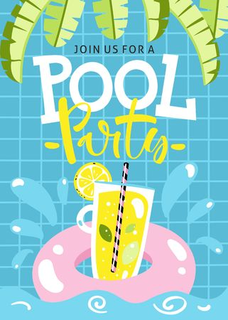 Pool party invitation. Vector illustration.