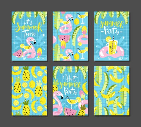 Set of tropical cards with lettering. Summer party invitations. Vector illustration. Vectores