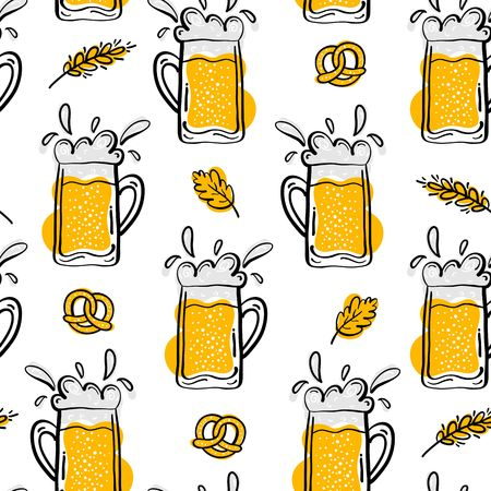 Beer Seamless Pattern. Hand Drawn Doodle Style. Beer and Snack. Vector Illustration. Vettoriali