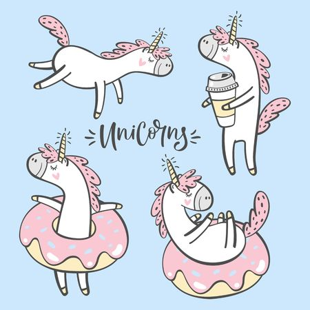 Set of cute hand drawn unicorns.