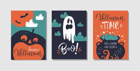 Feliz tarjeta de felicitación de Halloween, pancarta, plantillas de carteles. Símbolos tradicionales y texto escrito a mano. Calabazas, fantasmas, caldero.