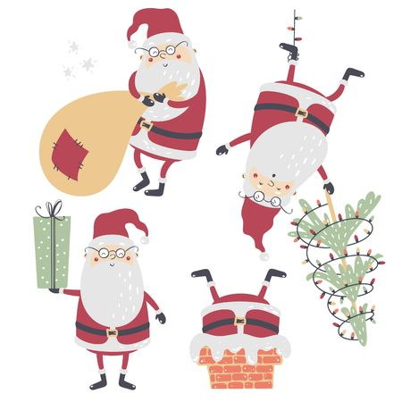 Set of funny cartoon Christmas Santa Claus. Vector illustration.
