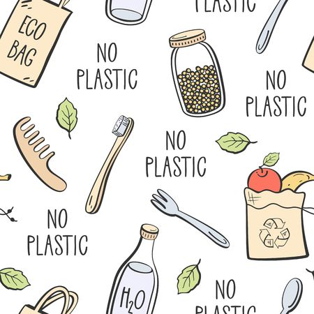 Zero waste hand drawn seamless pattern with reusable bag, fruits and vegetable textile eco pack, shopping bag, water bottle, glass jar.
