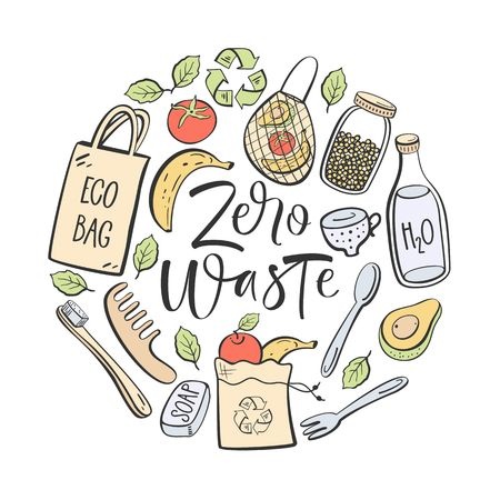 Zero waste hand written lettering. Eco lifestyle, vector design.