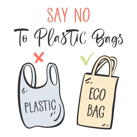 Diseño tipográfico con bolsa de plástico y reutilizable. Sin plástico, traiga su propio concepto de bolsa. Ilustración de vector. Ilustración de vector