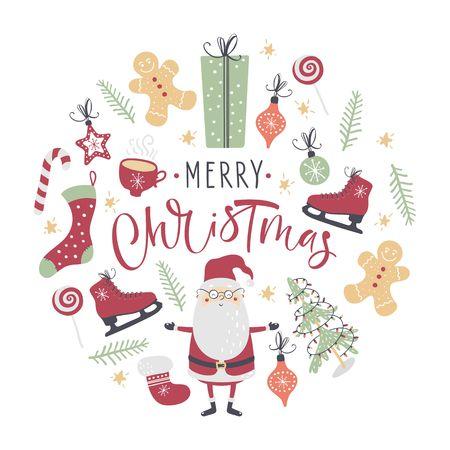 Christmas set. Santa, Christmas tree and other. Handwritten modern brush lettering. Hand drawn design elements. Vector illustration. Çizim