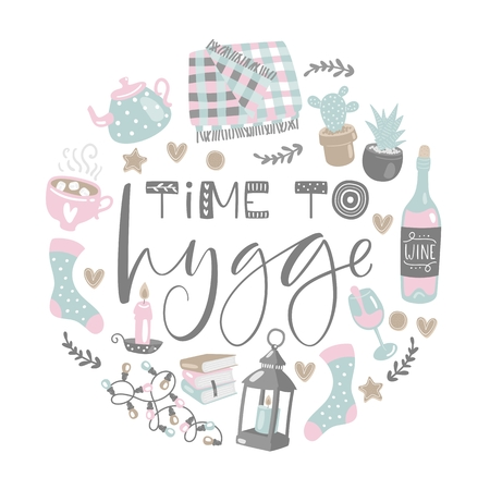 Vector illustration with Time to Hygge lettering and cozy home things. Danish living concept. Hand drawn style. Иллюстрация