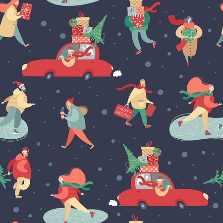 Vector winter seamless pattern with people in winter clothes walking outdoor. Bustle on city streets before Christmas holidays. Flat cartoon vector illustration. Wrapping paper, wallpaper, textile.